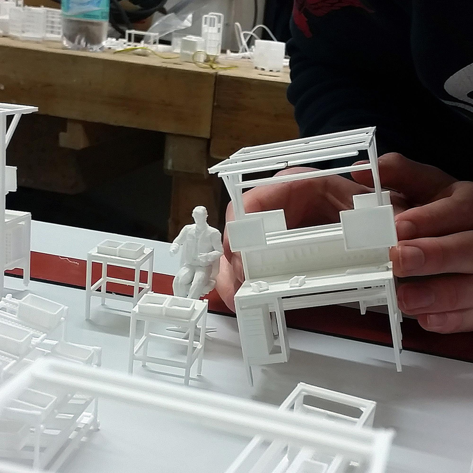 Exponat Werkshallenmodell Bauphase