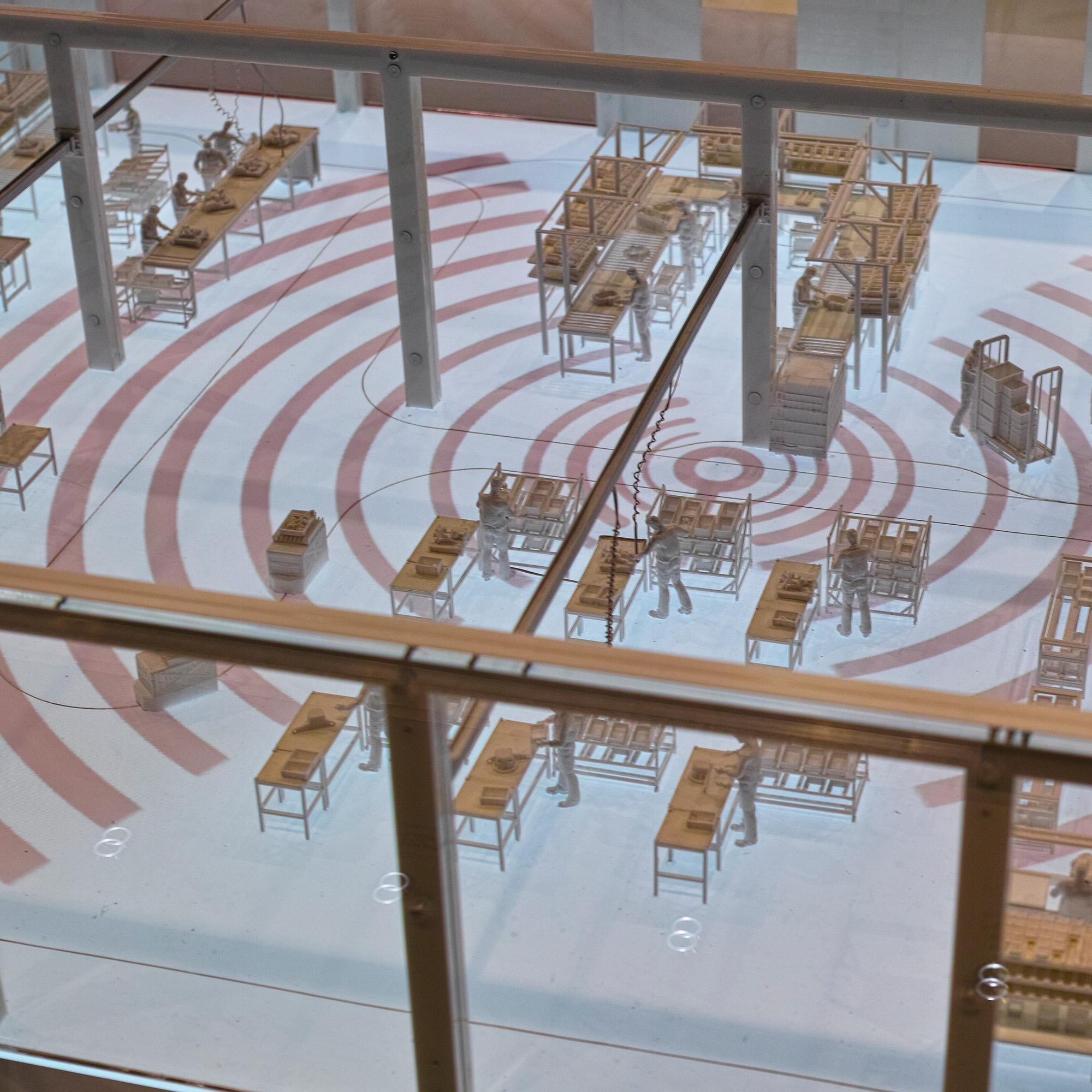 Logimat Exponat Werkshalle Unterflurprojektion