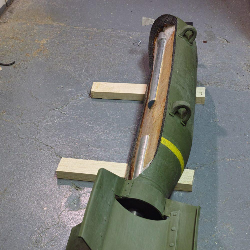 WK II Bombe Attrappe im Schnitt
